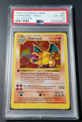 Pokemon 1st Ed Charizard PSA 6 Shadowless Holofoil Card