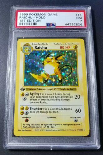 Pokemon 1st Ed Raichu PSA 7 Shadowless Holofoil Card