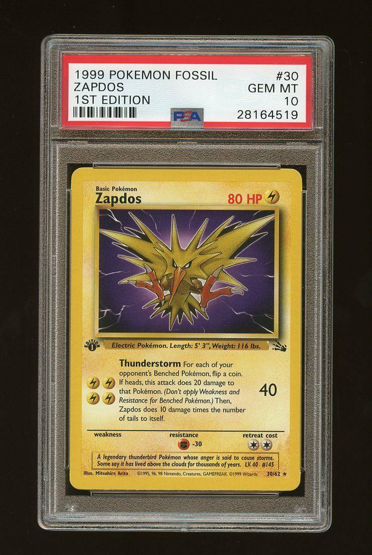1999 Fossil 1st Edition Zapdos 3062 Pokemon Card PSA 10 Gem Mint