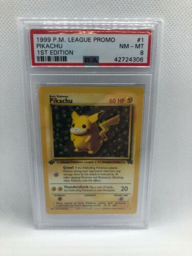 Psa 8 NMMT Ivy Pikachu 1st Edition Error League Promo 1999 1 Pokemon RARE Card