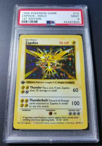 Pokemon 1st Ed Zapdos PSA 9 Shadowless Holofoil card