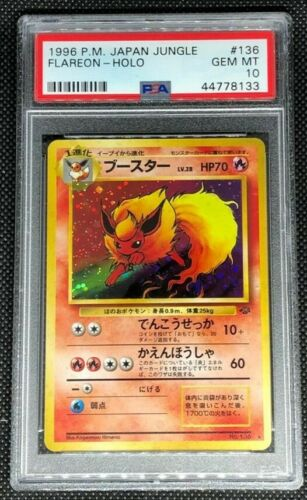 FLAREON 136  PSA 10 GEM MINT POKEMON JAPANESE JUNGLE HOLO RARE CARD