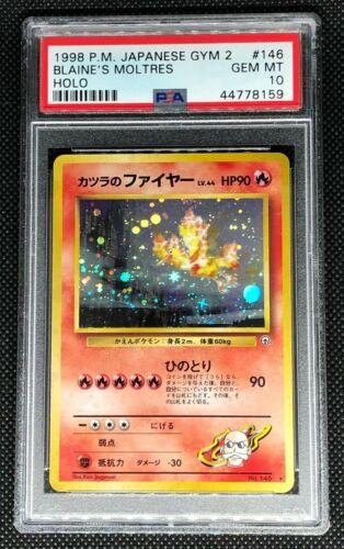 BLAINES MOLTRES 146  PSA 10 GEM MINT POKEMON JAPANESE GYM 2 HEROES HOLO CARD
