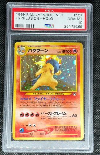 TYPHLOSION 157 17  PSA 10 GEM MINT POKEMON JAPANESE NEO GENESIS HOLO CARD