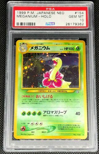 MEGANIUM 154  PSA 10 GEM MINT POKEMON JAPANESE NEO GENESIS HOLO CARD