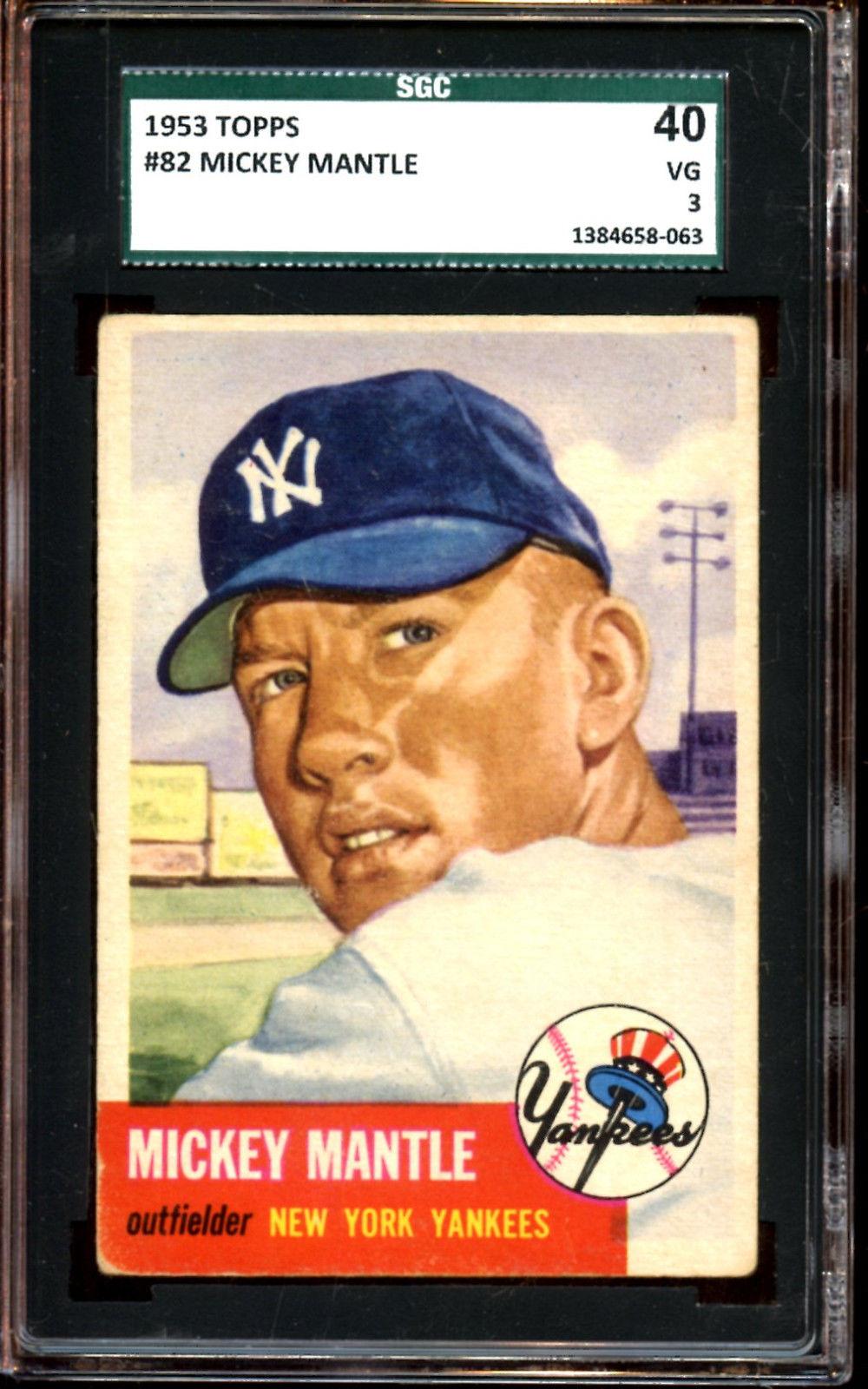 1953 Topps Baseball Card 82 Mickey Mantle New York Yankees SGC 40 VG 3