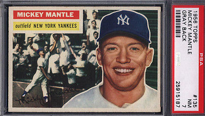 1956 Topps 135 Mickey Mantle Gray Back Yankees PSA 7 Well Centered