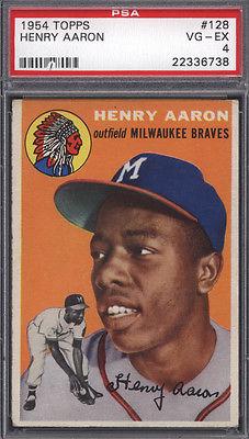 1954 Topps 128 Hank Aaron Rookie HOF Braves PSA 4 Well Centered 614660