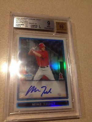Mike Trout 2009 Bowman Chrome Draft RC Refractors Auto 489500 BGS 9