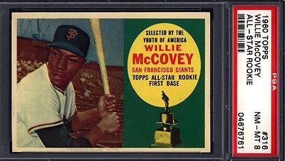 1960 Topps PSA 8 Set Break 316 Willie McCovey Rookie HOF PSA 8 Well Centered