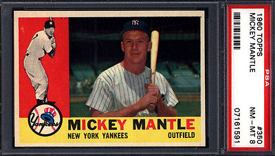 1960 Topps PSA 8 Set Break 350 Mickey Mantle Yankees PSA 8 Well Centered
