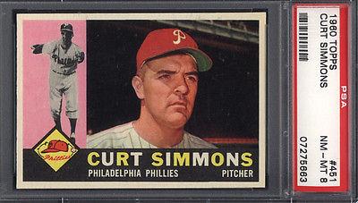 1960 Topps PSA 8 Set Break 451 Curt Simmons Phillies PSA 8 617218