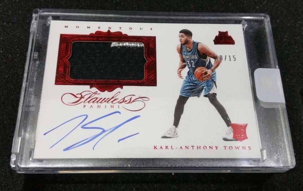 201516 Panini Flawless Momentous Ruby KARLANTHONY TOWNS 1015 Auto Jsy RC Red