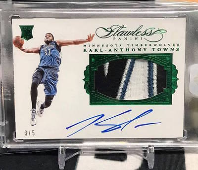 201516 Flawless Karl Anthony Towns Rookie Patch Auto Emerald 5 RC True RPA
