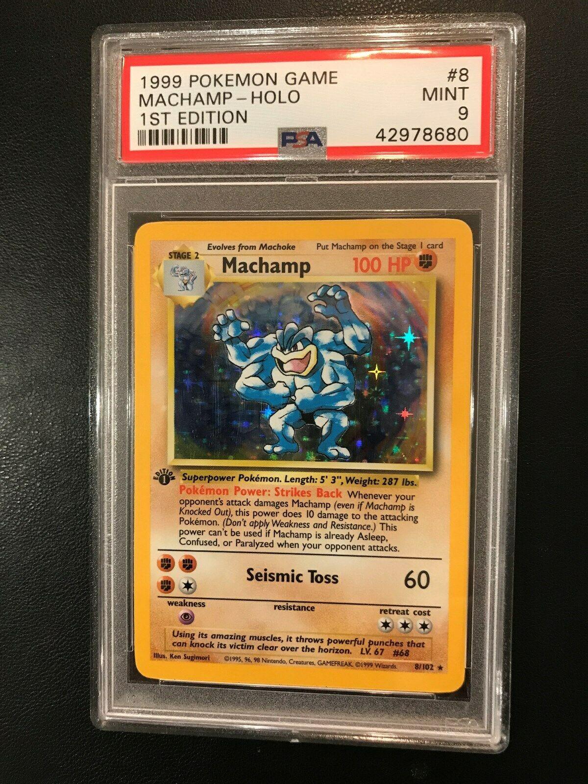 1999 Pokemon Game 1st Edition Machamp 8 HOLO Card PSA 9 Read item description