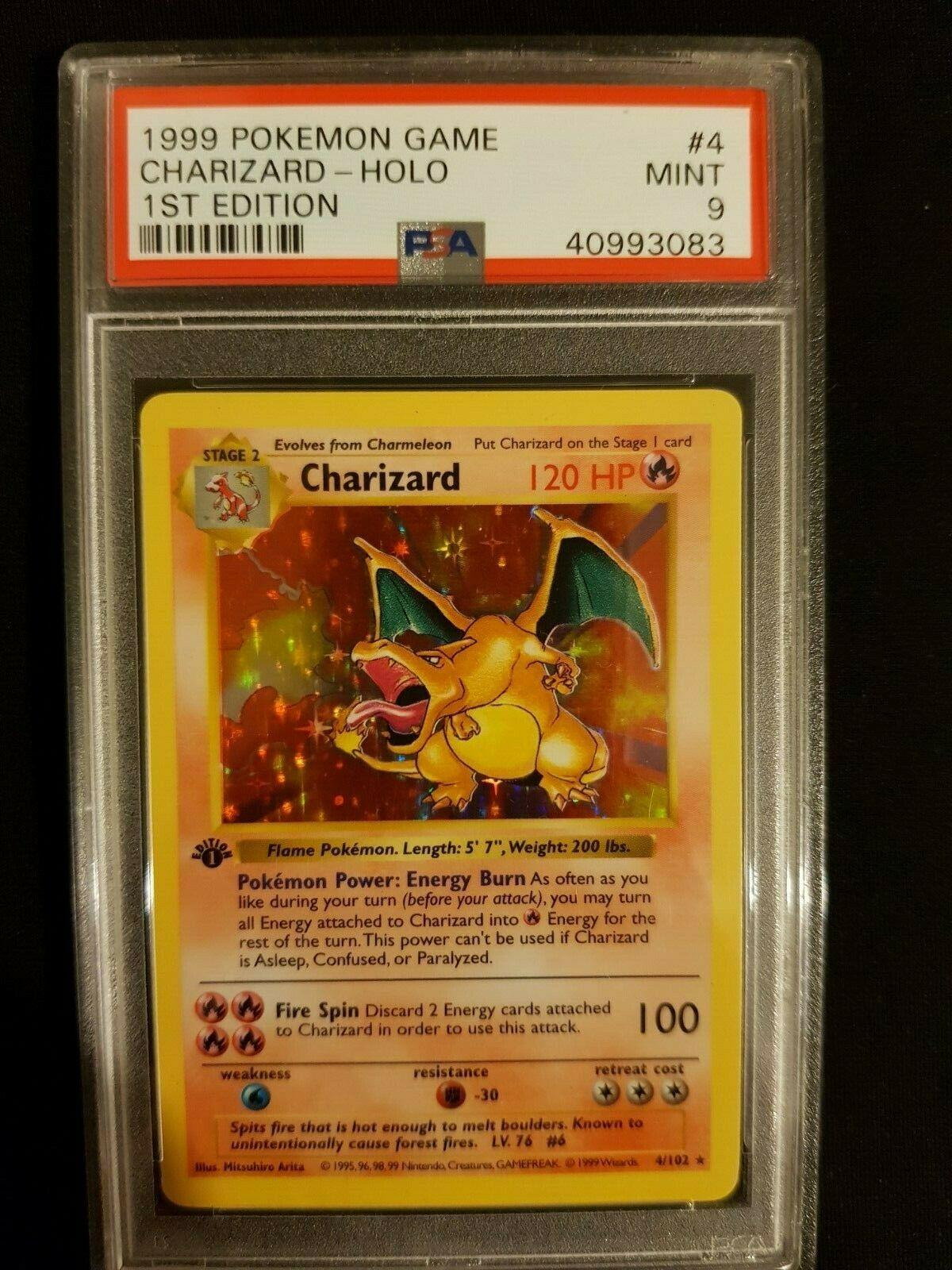 PSA 9 1st Edition Base STRONG Shadowless Charizard Pokemon Game Card updated