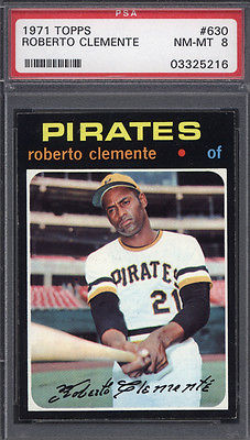 1971 Topps 630 Roberto Clemente Pirates PSA 8 Well Centered