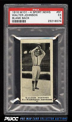 1916 M1014 Sporting News Walter Johnson 91 PSA 5 EX PWCC