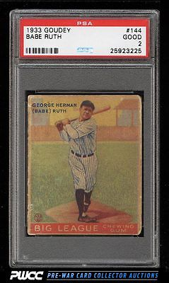 1933 Goudey Babe Ruth 144 PSA 2 GD PWCC
