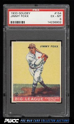 1933 Goudey Jimmy Foxx 154 PSA 6 EXMT PWCC