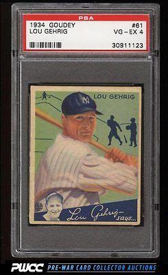 1934 Goudey Lou Gehrig 61 PSA 4 VGEX PWCC