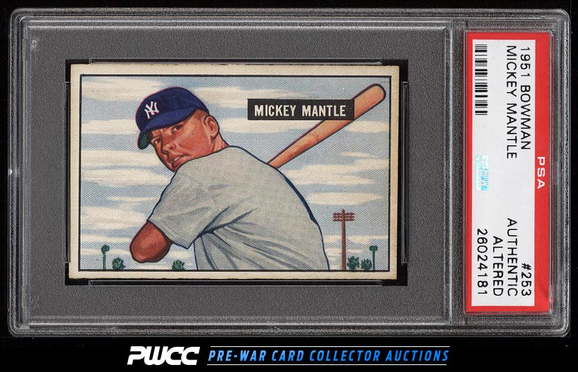 1951 Bowman Mickey Mantle ROOKIE RC 253 PSA AUTH Altered PWCC