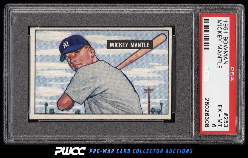 1951 Bowman Mickey Mantle ROOKIE RC 253 PSA 6 EXMT PWCC