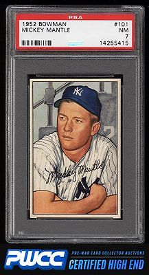 1952 Bowman Mickey Mantle 101 PSA 7 NRMT PWCCHE