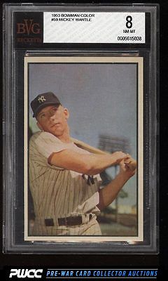 1953 Bowman Color Mickey Mantle 59 BVG 8 NMMT PWCC