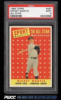 1958 Topps Mickey Mantle ALLSTAR 487 PSA 9 MINT PWCC