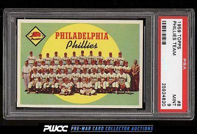 1959 Topps Phillies Team 8 PSA 9 MINT PWCC