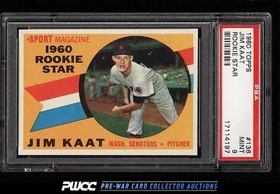 1960 Topps Jim Kaat ROOKIE RC 136 PSA 9 MINT PWCC