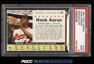 1961 Post Cereal Hank Aaron PERFORATED 107 PSA 9 MINT PWCC