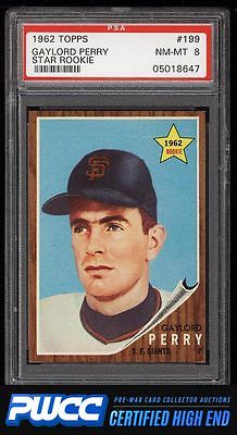 1962 Topps Gaylord Perry ROOKIE RC 199 PSA 8 NMMT PWCCHE