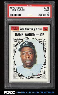 1970 Topps Hank Aaron ALLSTAR 462 PSA 9 MINT PWCC