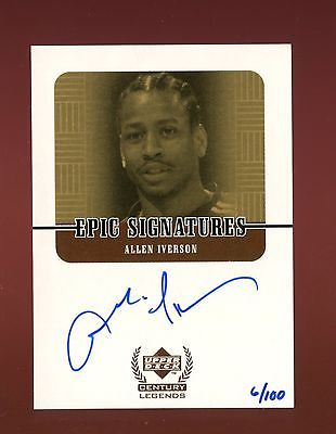 Allen Iverson 1999 Upper Deck Century Legends Epic Signatures Gold Auto  100