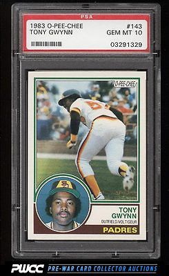 1983 OPeeChee Tony Gwynn ROOKIE RC 143 PSA 10 GEM MINT PWCC