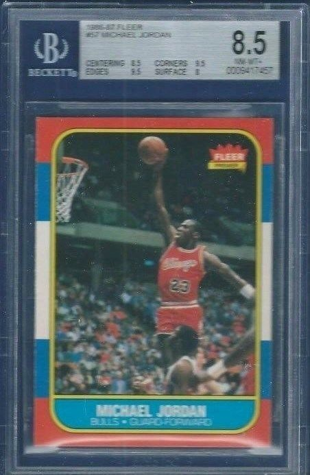 1986 Fleer Basketball 57 Michael Jordan RCHOF  BGS 85 8595958