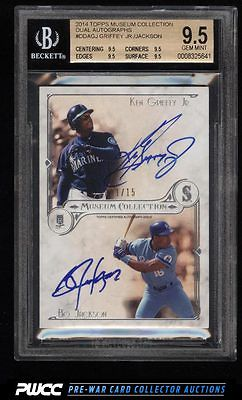 2014 Topps Museum Collection Ken Griffey Jr  Bo Jackson AUTO 15 BGS 95 PWCC