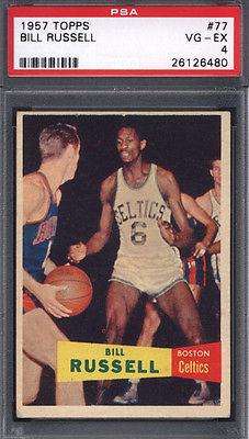 1957 Topps 77 Bill Russell Rookie HOF Celtics PSA 4 616002