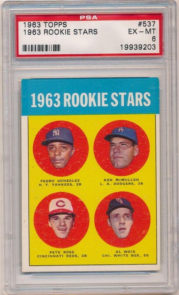 PETE ROSE 1963 TOPPS 537 RC ROOKIE STARS CINCINNATI REDS PSA 6 EXMT