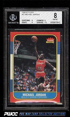 1986 Fleer Basketball Michael Jordan ROOKIE RC 57 BGS 8 NMMT PWCC