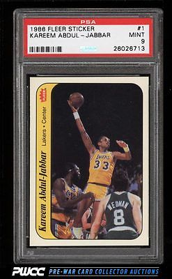 1986 Fleer Sticker Kareem AbdulJabbar 1 PSA 9 MINT PWCC