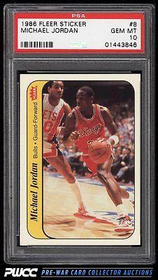 1986 Fleer Sticker Michael Jordan ROOKIE RC 8 PSA 10 GEM MINT PWCC