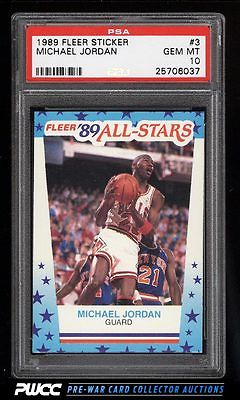 1989 Fleer Sticker Michael Jordan 3 PSA 10 GEM MINT PWCC