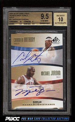 2004 SP Game Used Gold Michael Jordan Carmelo Anthony 5 AUTO BGS 95 GEM PWCC