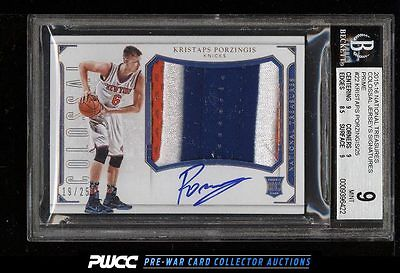 2015 National Treasures Kristaps Porzingis ROOKIE AUTO PATCH 25 BGS 9 MT PWCC