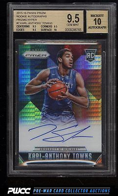 2015 Panini Prizms Hyper KarlAnthony Towns ROOKIE RC AUTO 10 BGS 95 PWCC