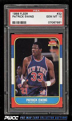 1986 Fleer Basketball SETBREAK Patrick Ewing ROOKIE RC 32 PSA 10 GEM MT PWCC