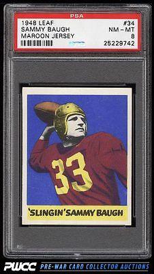 1948 Leaf Football Sammy Baugh ROOKIE RC 34 PSA 8 NMMT PWCC